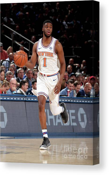 Nba Pro Basketball Canvas Print featuring the photograph Emmanuel Mudiay by Nathaniel S. Butler