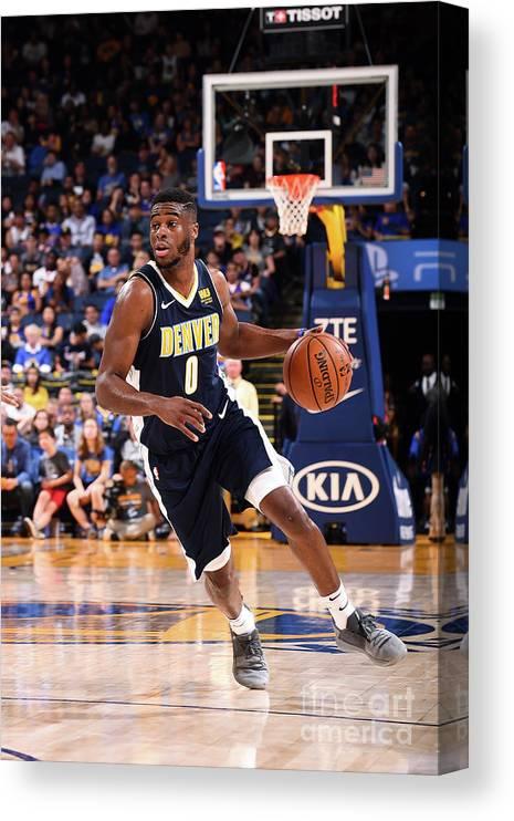 Nba Pro Basketball Canvas Print featuring the photograph Emmanuel Mudiay by Noah Graham