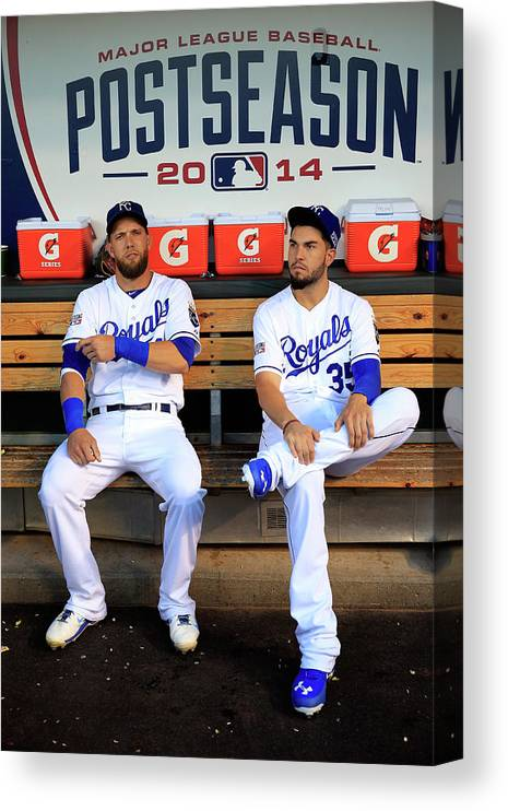 American League Baseball Canvas Print featuring the photograph Eric Hosmer and Alex Gordon by Jamie Squire