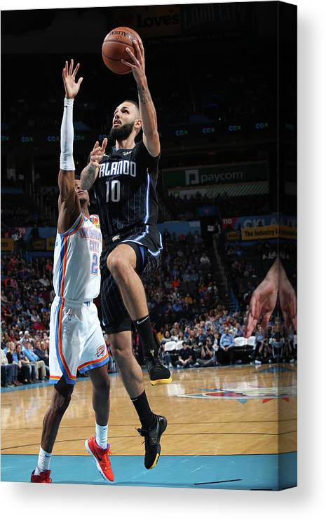 Nba Pro Basketball Canvas Print featuring the photograph Evan Fournier by Zach Beeker