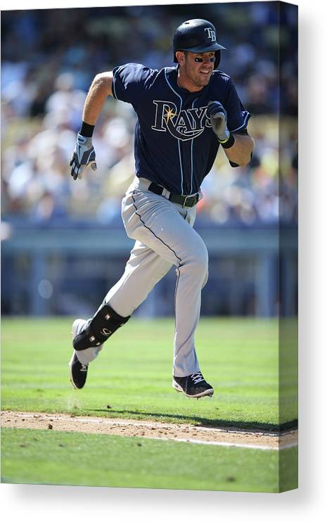 American League Baseball Canvas Print featuring the photograph Evan Longoria by Paul Spinelli