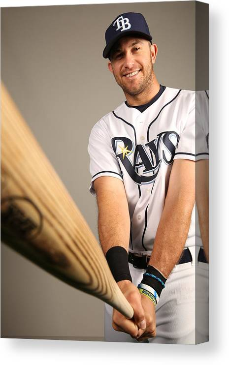 Media Day Canvas Print featuring the photograph Evan Longoria by Robbie Rogers