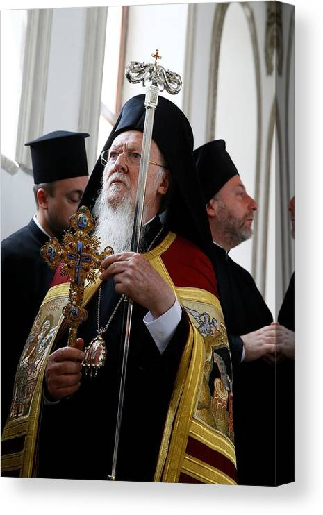 Vertical Canvas Print featuring the photograph Fener-Greek Patriarch Bartholomew presides mass in Izmir by Anadolu Agency