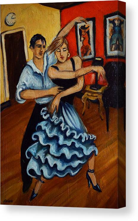 Dancers Canvas Print featuring the painting Flamenco by Valerie Vescovi