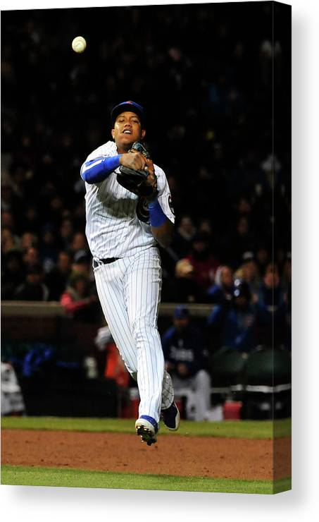People Canvas Print featuring the photograph Francisco Cervelli and Starlin Castro by David Banks