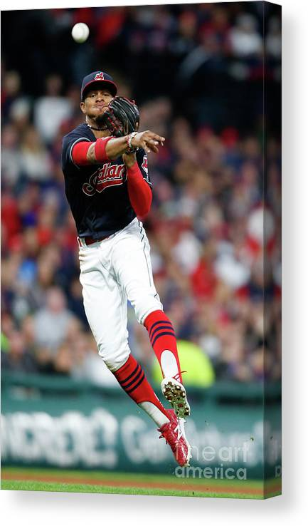 People Canvas Print featuring the photograph Francisco Lindor by Ron Schwane