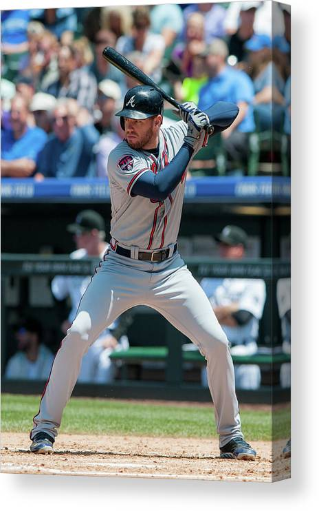 National League Baseball Canvas Print featuring the photograph Freddie Freeman by Dustin Bradford