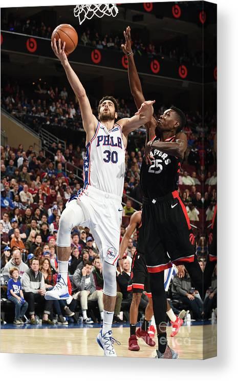 Nba Pro Basketball Canvas Print featuring the photograph Furkan Korkmaz by David Dow