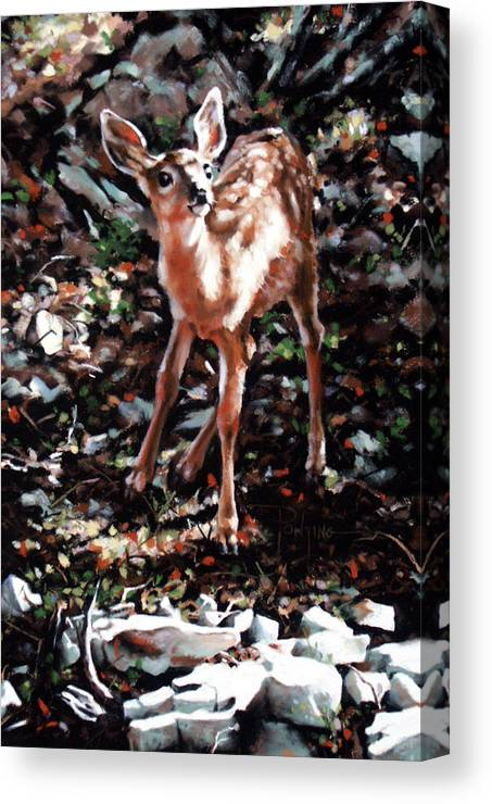 Deer Canvas Print featuring the painting Garden Ornament by Dianna Ponting