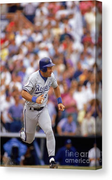 American League Baseball Canvas Print featuring the photograph George Hall by Victor Baldizon