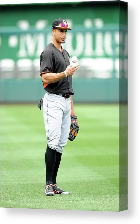 American League Baseball Canvas Print featuring the photograph Giancarlo Stanton by Greg Fiume