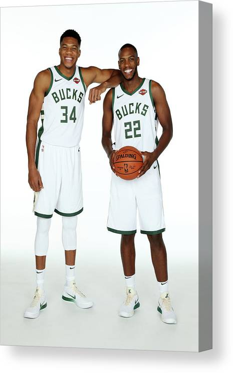 Media Day Canvas Print featuring the photograph Giannis Antetokounmpo and Khris Middleton by Gary Dineen