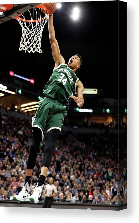 Nba Pro Basketball Canvas Print featuring the photograph Giannis Antetokounmpo by Jordan Johnson