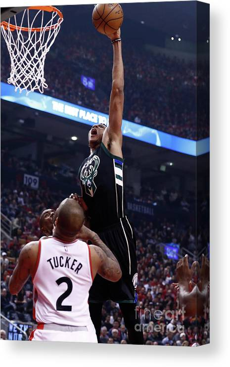 Playoffs Canvas Print featuring the photograph Giannis Antetokounmpo by Mark Blinch