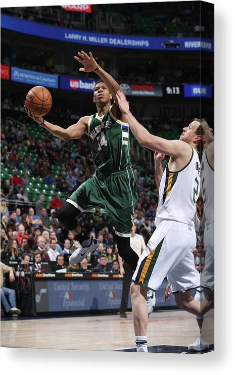 Nba Pro Basketball Canvas Print featuring the photograph Giannis Antetokounmpo by Melissa Majchrzak