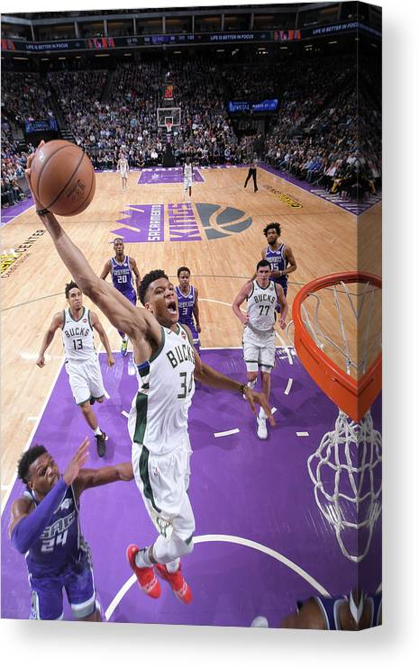Nba Pro Basketball Canvas Print featuring the photograph Giannis Antetokounmpo by Rocky Widner