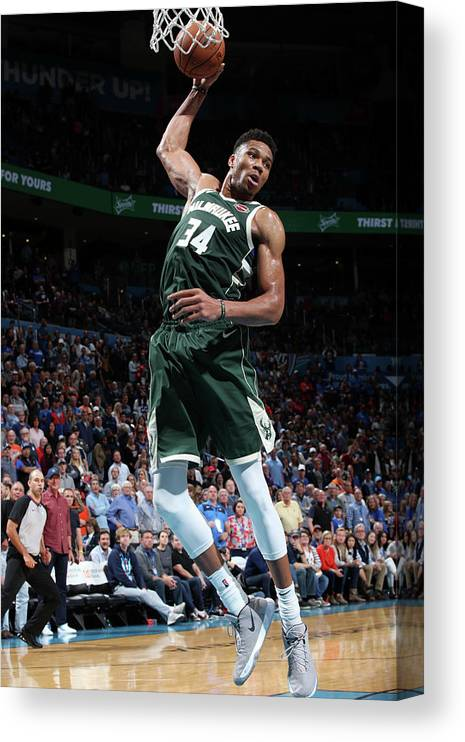 Nba Pro Basketball Canvas Print featuring the photograph Giannis Antetokounmpo by Zach Beeker