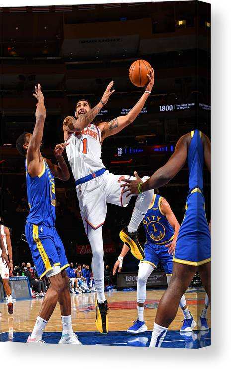 Nba Pro Basketball Canvas Print featuring the photograph Golden State Warriors v New York Knicks by Jesse D. Garrabrant