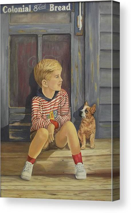 A Young Boy And His Dog Canvas Print featuring the painting Grandpas Country Store by Wanda Dansereau