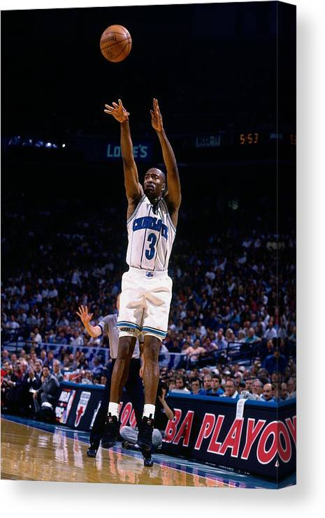 Playoffs Canvas Print featuring the photograph Hersey Hawkins by Nathaniel S. Butler