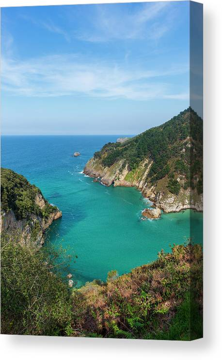 Color Canvas Print featuring the photograph Hidden Cove In Pechon, Cantabria by Vicen Photography