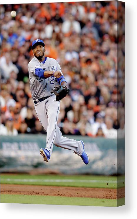 San Francisco Canvas Print featuring the photograph Hunter Pence and Alcides Escobar by Ezra Shaw