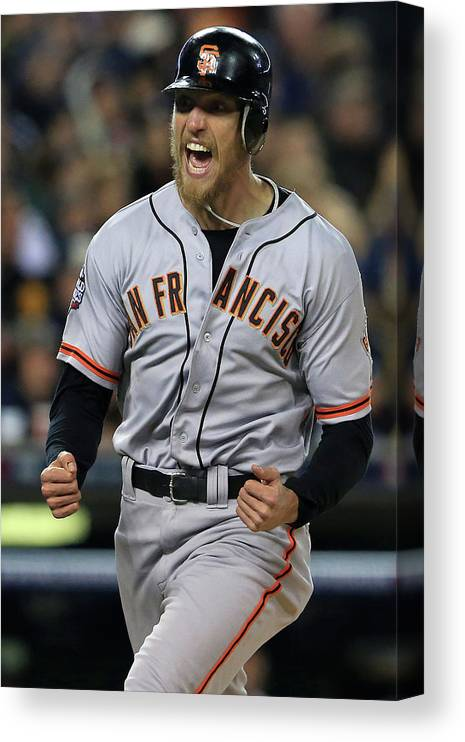 Second Inning Canvas Print featuring the photograph Hunter Pence, Max Scherzer, and Brandon Belt by Doug Pensinger