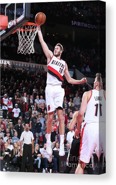 Nba Pro Basketball Canvas Print featuring the photograph Jake Layman by Sam Forencich