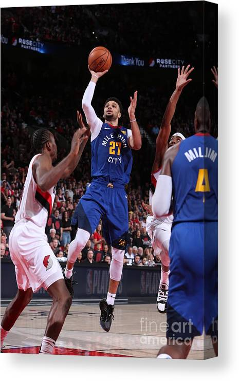 Playoffs Canvas Print featuring the photograph Jamal Murray by Sam Forencich