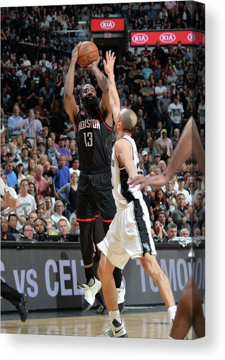 Nba Pro Basketball Canvas Print featuring the photograph James Harden by Mark Sobhani