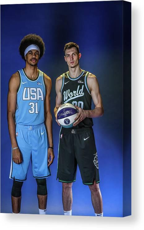 Nba Pro Basketball Canvas Print featuring the photograph Jarrett Allen by Michael J. Lebrecht Ii