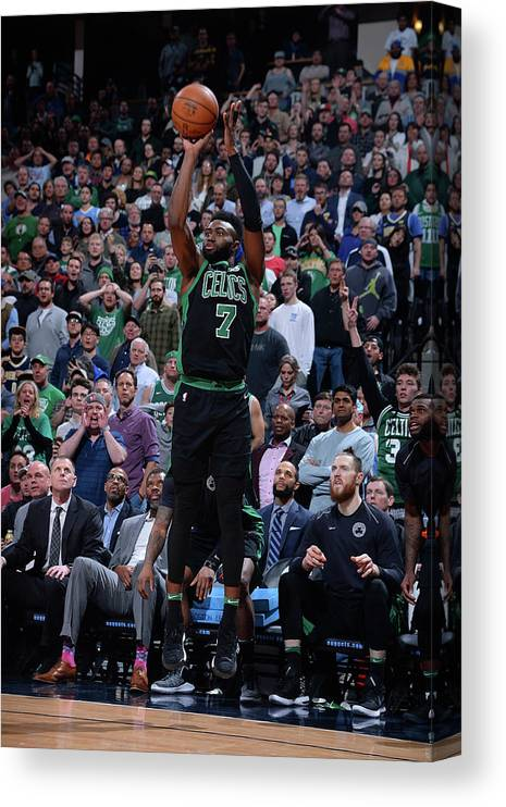 Nba Pro Basketball Canvas Print featuring the photograph Jaylen Brown by Bart Young