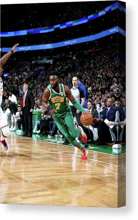 Nba Pro Basketball Canvas Print featuring the photograph Jaylen Brown by Chris Marion
