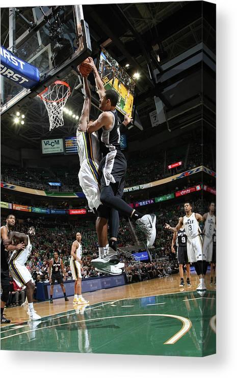 Nba Pro Basketball Canvas Print featuring the photograph Jeff Ayres and Derrick Favors by Melissa Majchrzak