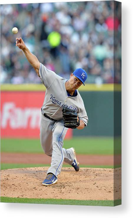 American League Baseball Canvas Print featuring the photograph Jeremy Guthrie by Brian Kersey