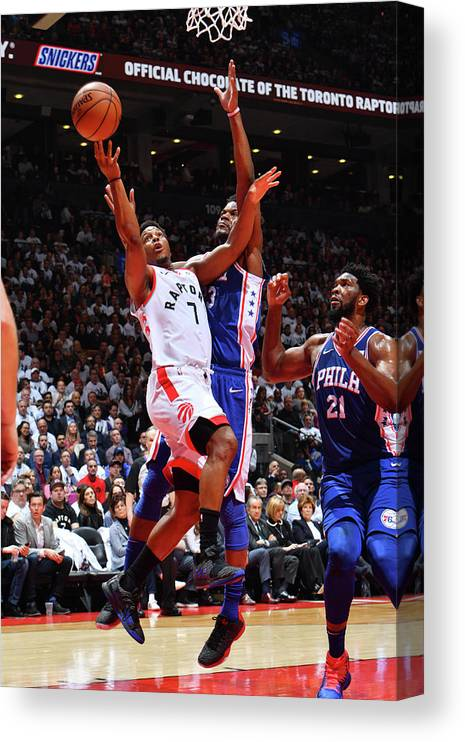 Playoffs Canvas Print featuring the photograph Jimmy Butler and Kyle Lowry by Jesse D. Garrabrant