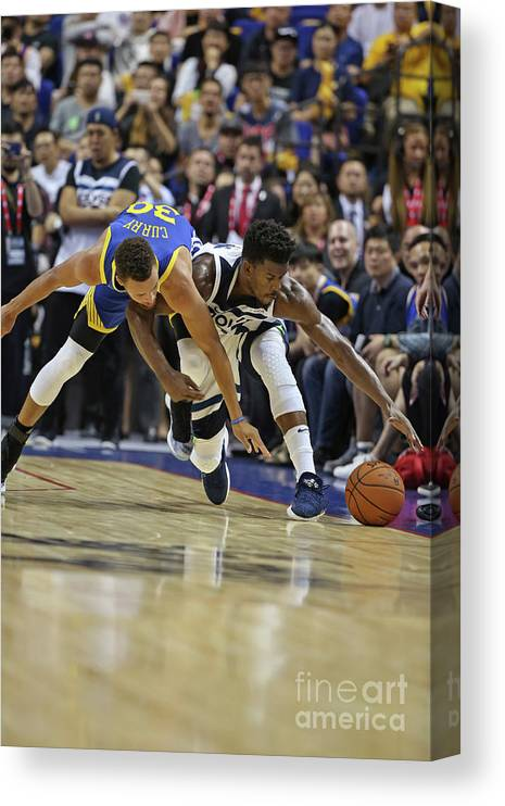 Event Canvas Print featuring the photograph Jimmy Butler and Stephen Curry by David Sherman