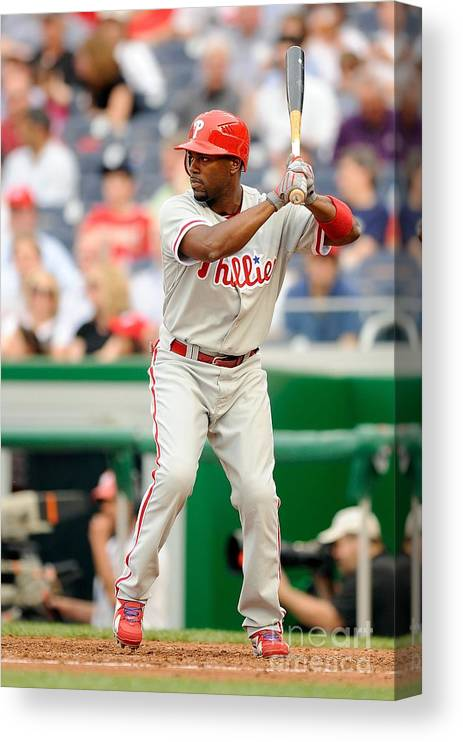 National League Baseball Canvas Print featuring the photograph Jimmy Rollins by G Fiume