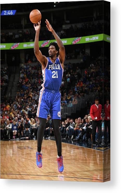 Nba Pro Basketball Canvas Print featuring the photograph Joel Embiid by Garrett Ellwood