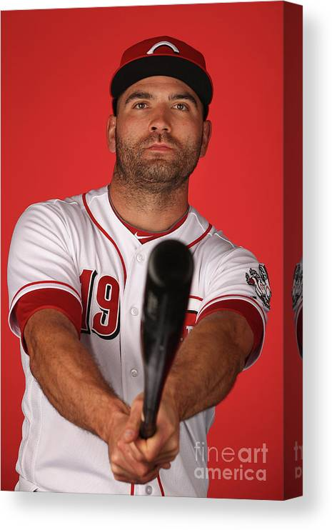 Media Day Canvas Print featuring the photograph Joey Votto by Christian Petersen