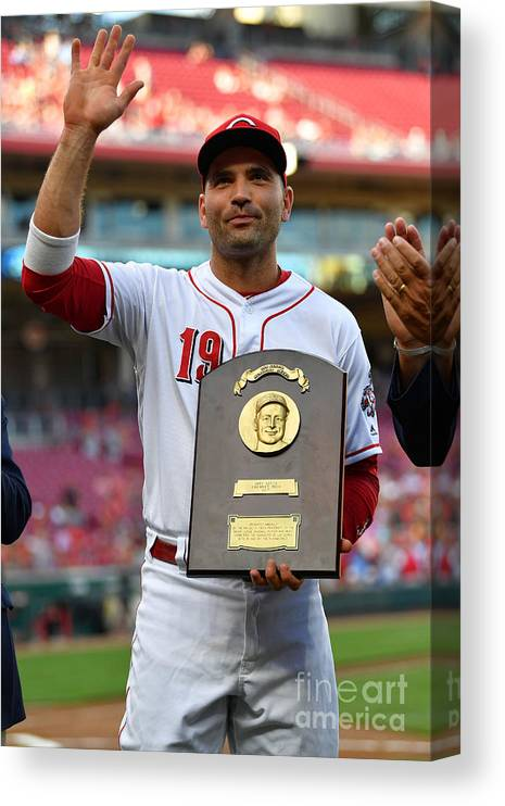 Great American Ball Park Canvas Print featuring the photograph Joey Votto by Jamie Sabau