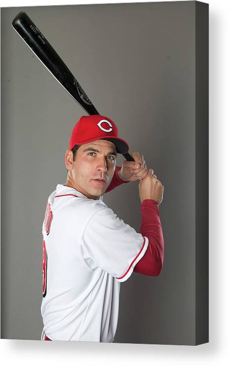 American League Baseball Canvas Print featuring the photograph Joey Votto by Mike Mcginnis