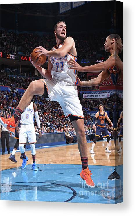 Nba Pro Basketball Canvas Print featuring the photograph Joffrey Lauvergne by Andrew D. Bernstein