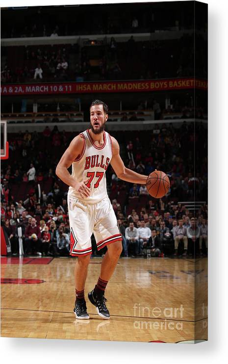 Nba Pro Basketball Canvas Print featuring the photograph Joffrey Lauvergne by Gary Dineen