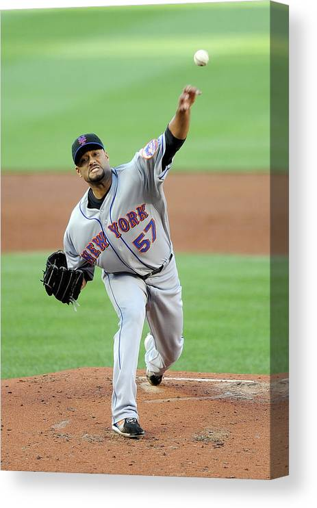 Baseball Pitcher Canvas Print featuring the photograph Johan Santana by Greg Fiume