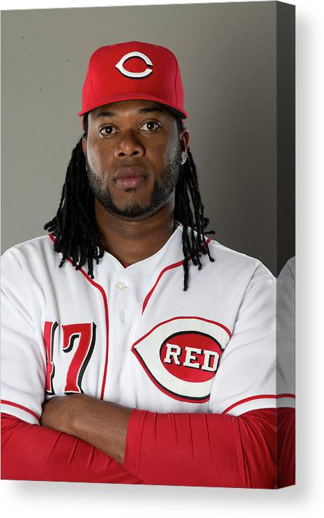 American League Baseball Canvas Print featuring the photograph Johnny Cueto by Mike Mcginnis