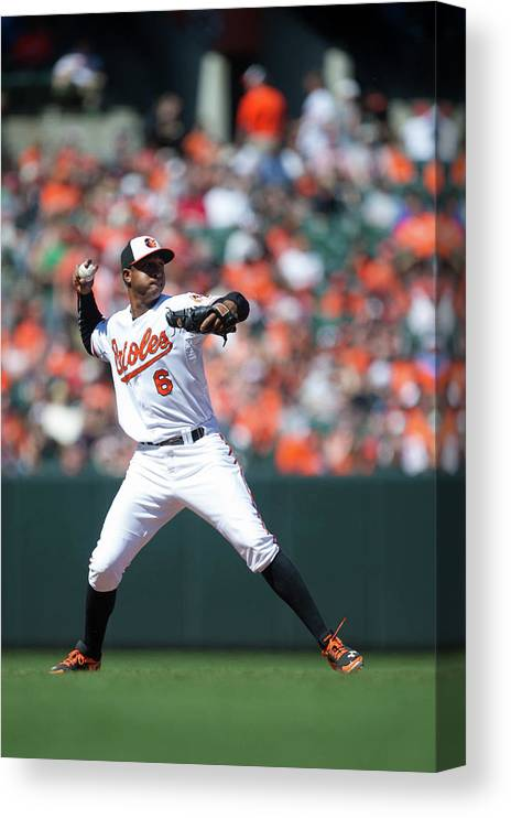 American League Baseball Canvas Print featuring the photograph Jonathan Schoop by Rob Tringali
