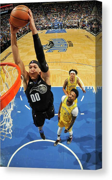 Nba Pro Basketball Canvas Print featuring the photograph Jordan Bell and Aaron Gordon by Fernando Medina