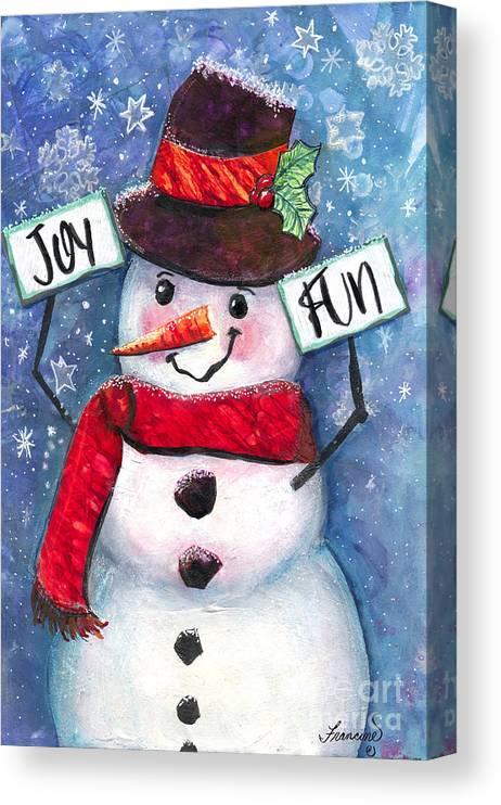 Snowman Canvas Print featuring the mixed media Joyful and Fun Snowman by Francine Dufour Jones