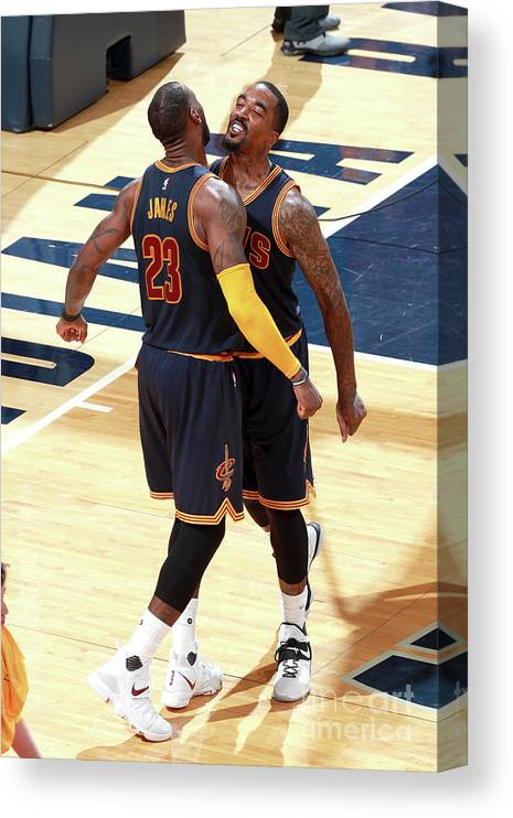 Playoffs Canvas Print featuring the photograph J.r. Smith and Lebron James by Jeff Haynes